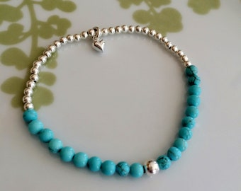Tiny Turquoise STRETCH bead bracelet - Sterling Silver- throat Chakra - Yoga- healing jewelry gift