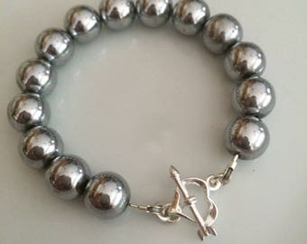 Chunky Silver Hematite gemstone bead bracelet with Sterling Silver heart toggle clasp