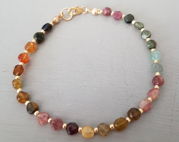 Watermelon Tourmaline Bracelet Gold Fill or Sterling Silver tiny gemstone bead bracelet October Birthstone jewellery gift Tourmaline jewelry