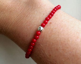 Red Coral stretch Bracelet Sterling Silver or Gold Fill bead Healing - Root Chakra - Yoga jewellery gift