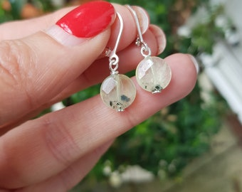 Tiny green Prehnite earrings Sterling Silver light green gemstone earrings faceted coin drop earring  Healing Crystal jewellery gift for her