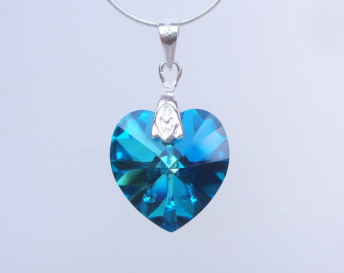 Blue Swarovski Crystal Heart Necklace, Sterling Silver Swarovski Heart pendant Necklace, Peacock Blue Mothers Day gift Swarovski Jewelry