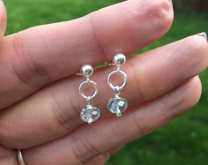 Tiny Aquamarine earrings on Sterling Silver studs - March Birthstone jewellery