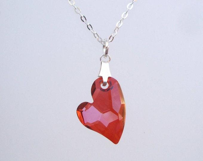 Dainty Red Swarovski crystal heart necklace - Sterling Silver