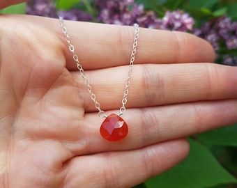 Sterling Silver Carnelian necklace choker or 18K Gold Filled red tiny gemstone necklace simple pendant July Birthstone jewellery chakra gift