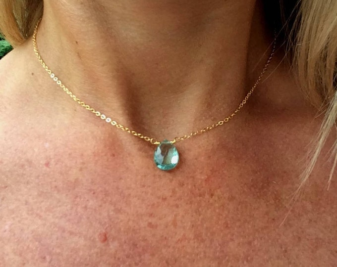 Aquamarine necklace choker 18K Rose Gold filled Sterling Silver dainty blue gemstone necklace simple teardrop March Birthstone jewelry gift