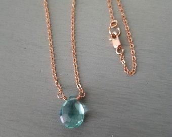 DESIGNER 18K GOLD FILL MOSS KYANITE NECKLACE CHOKER SMALL TINY BLUE PENDANT GIFT