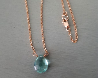 Rose Gold Fill Aquamarine necklace choker or Gold Fill / Sterling Silver blue teardrop necklace pendant March Birthstone jewellery gift