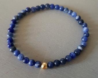 Blue Sodalite stretch Bracelet Sterling Silver / Gold Fill 4mm small blue gemstone bead bracelet Chakra jewellery Stacking Boho jewelry gift