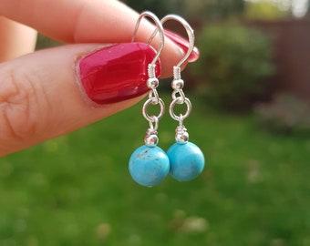 Turquoise gemstone bead earrings - Sterling Silver - December Birthstone jewelry - Chakra jewellery - Yoga lover gift
