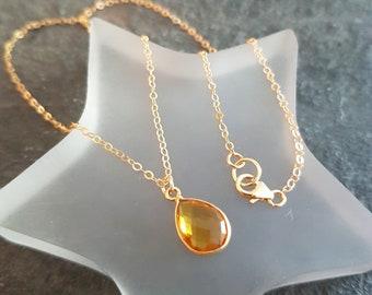 18K Gold fill Citrine necklace choker genuine yellow gemstone teardrop pendant necklace layering November Birthstone jewellery Jewelry gift