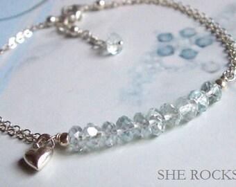 Sterling Silver Aquamarine bracelet- March Birthstone jewellery gift - Throat Chakra Yoga Healing crystal gift