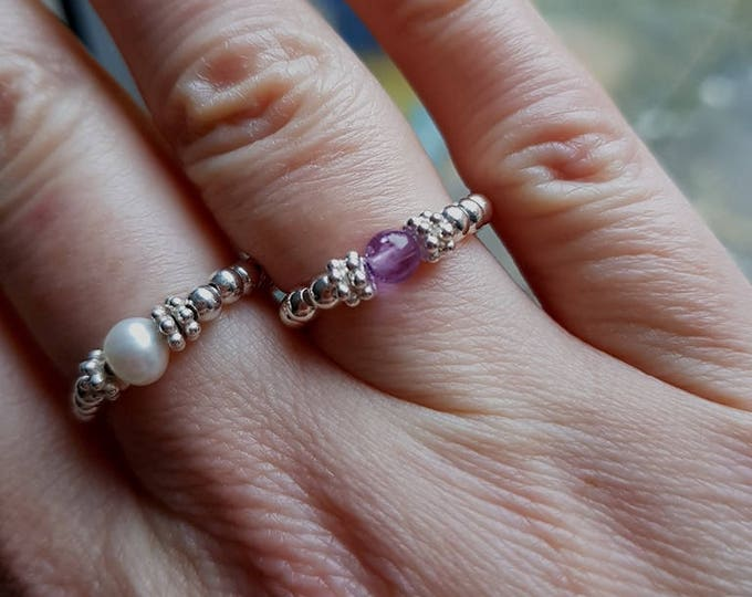 Sterling Silver Amethyst stretch ring tiny purple gemstone - February Birthstone jewellery Chakra Healing jewelry