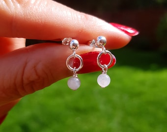 Tiny MOONSTONE earrings Sterling Silver stud - June Birthstone jewelry - Yoga - Chakra- jewellery gift for her