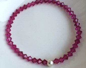Fushia Pink Swarovski crystal stretch bracelet Sterling Silver tiny pink bead bracelet Swarovski crystal bracelet bridesmaid jewelry gift