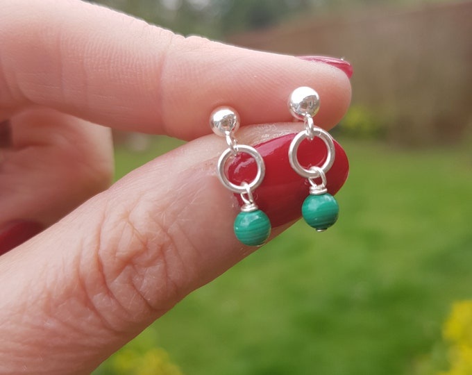 Tiny Malachite earrings Sterling Silver stud small Malachite drop earrings green gemstone bead jewellery Chakra jewelry teenage girl gift