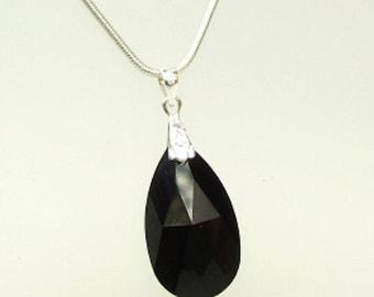 Black Swarovski Crystal teardrop Necklace Sterling Silver customised length gift box