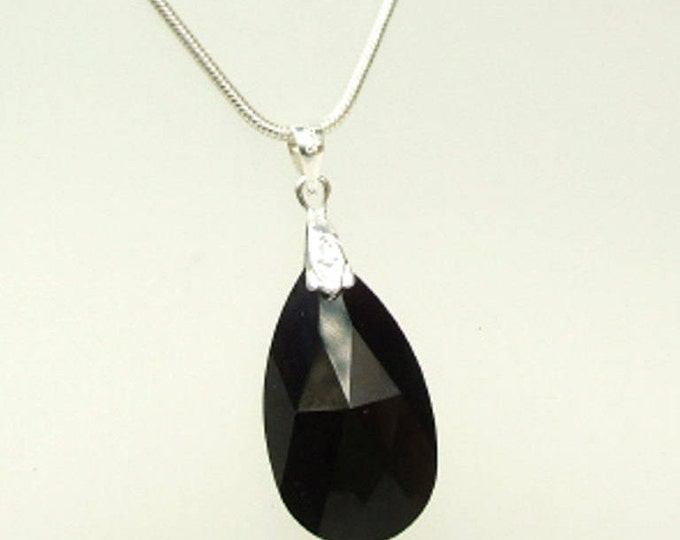 Black Swarovski Crystal teardrop Necklace Sterling Silver customised length gift box