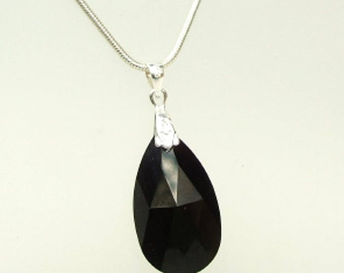Lage Black Swarovski Crystal teardrop Necklace Sterling Silver customised length gift box