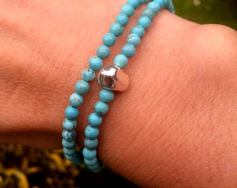 Turquoise stretch Bracelet Sterling Silver Tiny blue gemstone bead Bracelet - wrap bracelet - December Birthstone jewellery - Yoga gift
