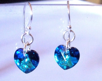 Bermuda Blue Swarovski crystal heart earrings - on Sterling Silver or Gold Fill  fastenings of choice