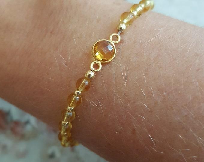 Citrine bracelet 18K Gold fill tiny gemstone bracelet stacking - November Birthstone jewellery - Solar Chakra - Yoga jewelry gift