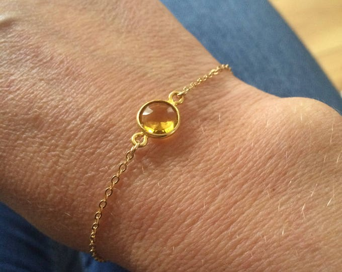 18K Gold fill tiny Citrine bracelet genuine yellow gemstone bracelet stacking layering November Birthstone jewellery minimalist Jewelry gift