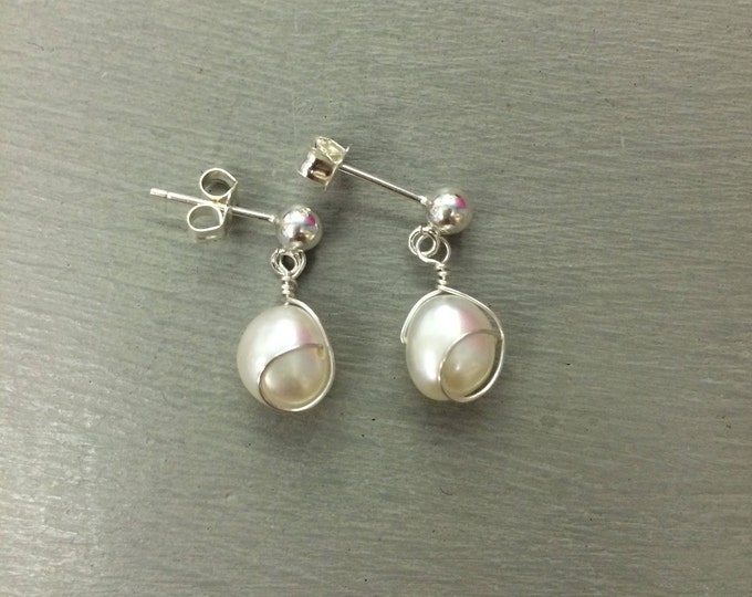 White Baroque Freshwater pearl earrings Sterling Silver pearl drop earrings wire wrapped pearl earrings white pearl earrings bridesmaid gift