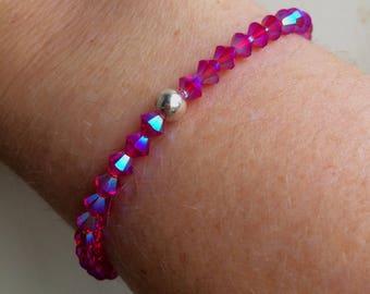 Ruby Red AB Swarovski crystal stretch bracelet - Sterling Silver or Gold Fill bead