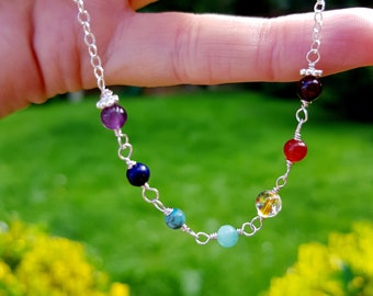 7 CHAKRA necklace choker in Sterling Silver / 14K Gold Fill wire wrapped 4mm tiny gemstone bead YOGA necklace Boho mala Chakra jewelry gift