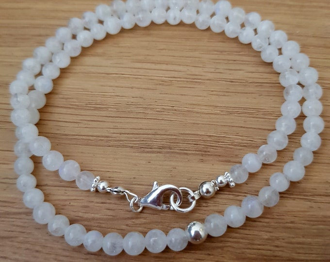 Tiny AA Moonstone necklace choker Sterling Silver or Gold Fill - June Birthstone jewelry throat Chakra gift