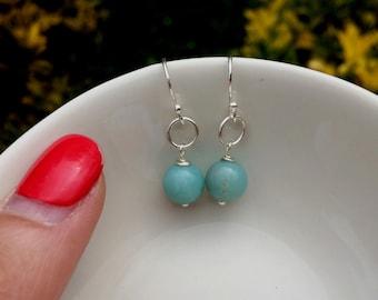 Green Amazonite gemstone bead earrings Sterling Silver or Gold Fill small drop earrings on hooks or stud jewelry jewellery Healing Yoga gift
