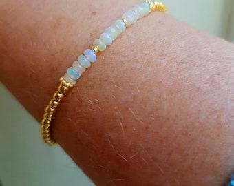 Ethiopian OPAL Bracelet Gold Fill or Sterling Silver tiny 4mm gemstone bead Bracelet OCTOBER Birthstone jewellery gift AAA Welo Opal jewelry