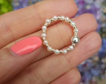 Tiny Freshwater Pearl ring Sterling Silver or Gold Fill real white seed pearl beaded stacking ring stretch ring real pearl jewellery jewelry
