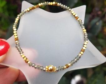 Labradorite CZ crystal stretch bracelet tiny grey crystal and gold Hematite gemstone bead bracelet skinny stacking bracelet jewellery gift