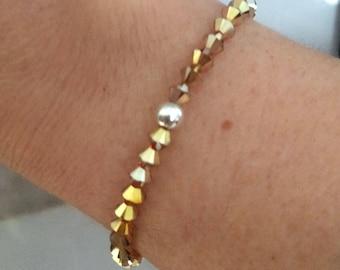 GOLD Swarovski crystal stretch bracelet Sterling Silver or 14K Gold Fill tiny 4mm bead bracelet - stacking bracelet Swarovski jewellery gift