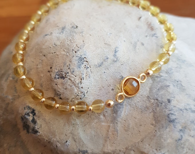 CITRINE Bracelet Gold Filled beaded stretch bracelet tiny 4mm yellow gemstone Bead Bracelet November Birthstone jewelry jewellery Gift