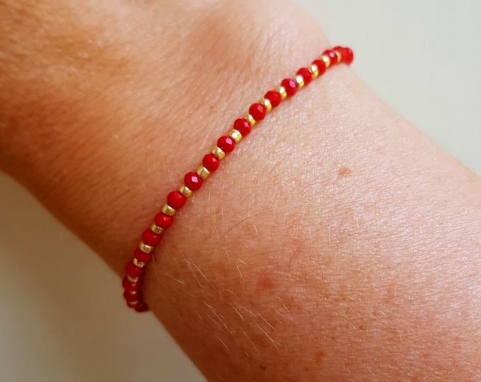 Tiny Red crystal stretch bracelet with Gold Hematite gemstone beads stacking boho jewelry gift