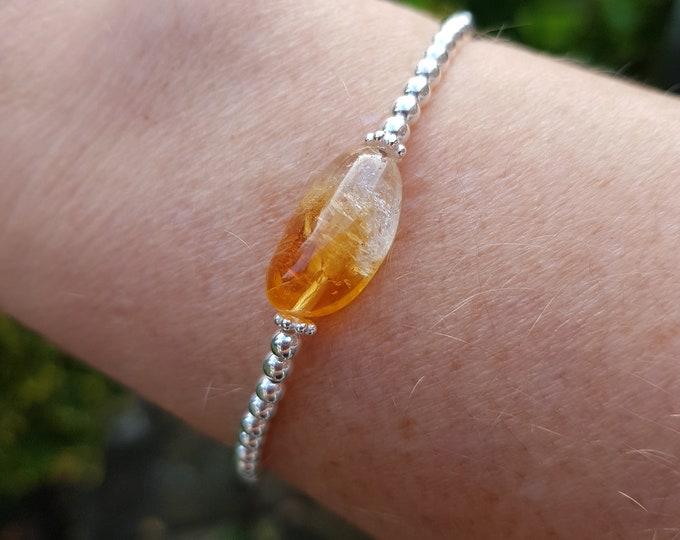Citrine STRETCH bracelet Sterling Silver yellow raw gemstone bracelet beaded jewelry November birthstone jewellery gift