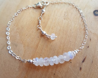 Moonstone bracelet Sterling Silver or Gold Fill June Birthstone jewellery small faceted white gemstone bead bracelet real Rainbow Moonstone