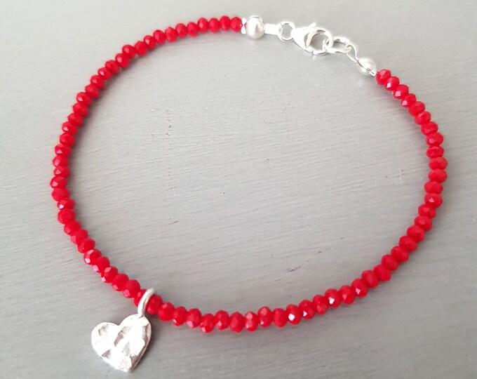 Tiny Red crystal bracelet Sterling Silver hammered heart 3mm red beaded bracelet skinny bead bracelet boho red jewellery gift for her GIRL
