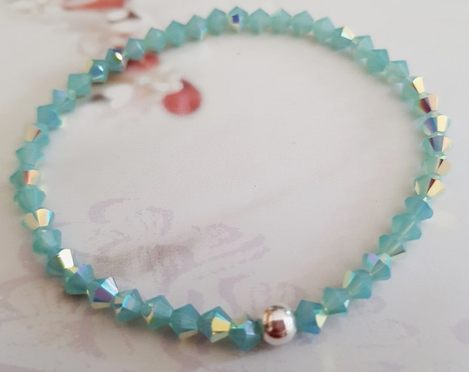 Green Pacific Opal AB vintage Swarovski crystal stretch bracelet with Sterling Silver or 14K gold Fill bead