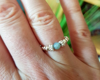 Aquamarine Sterling Silver stretch ring tiny blue gemstone ring beaded ring stacking March Birthstone jewellery Chakra Healing Yoga jewelry