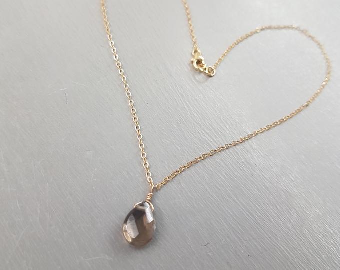 Dainty Smoky Quartz necklace choker 18K Gold Fill  Small brown teardrop gemstone necklace simple Smokey Quartz jewellery gift