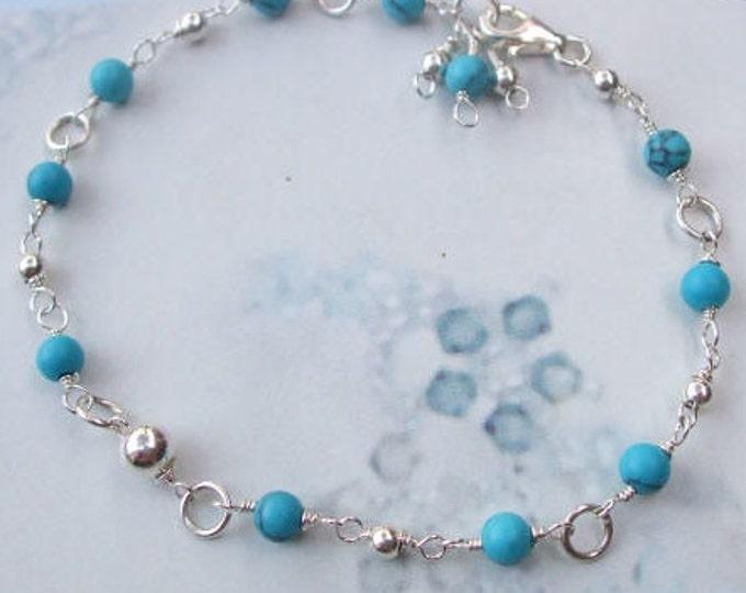 Sterling Silver tiny TURQUOISE BRACELET  - December Birthstone jewellery gift - throat chakra - yoga lover gift