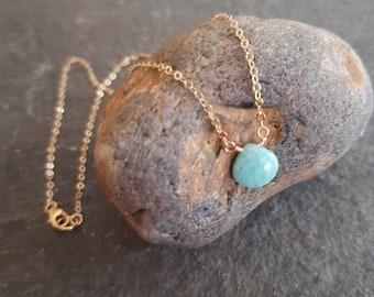 18K Gold fill Amazonite necklace choker - layering jewellery - minimalist - Heart Chakra - Yoga lover Jewelry gift