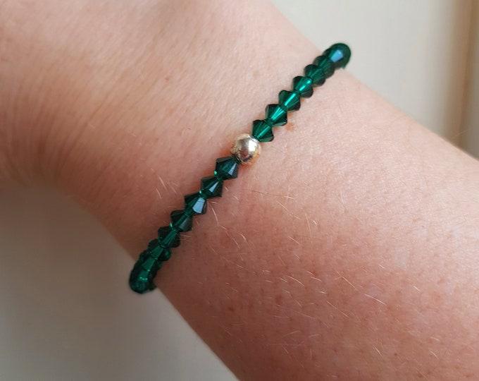Emerald green Swarovski crystal stretch bracelet Sterling Silver or Gold Filled bead - May Birthstone jewelry - Heart Chakra - yoga gift mum