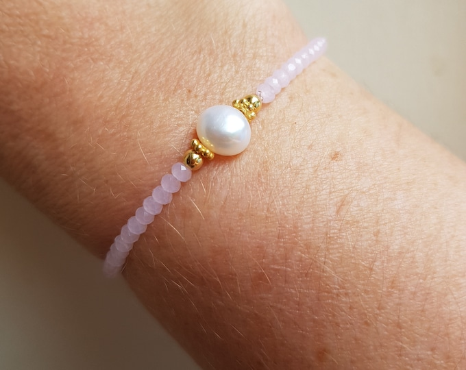 BAROQUE PEARL pink crystal stretch bracelet Sterling Silver or 14K Gold Fill beads real Freshwater pearl tiny bracelet stacking jewelry gift