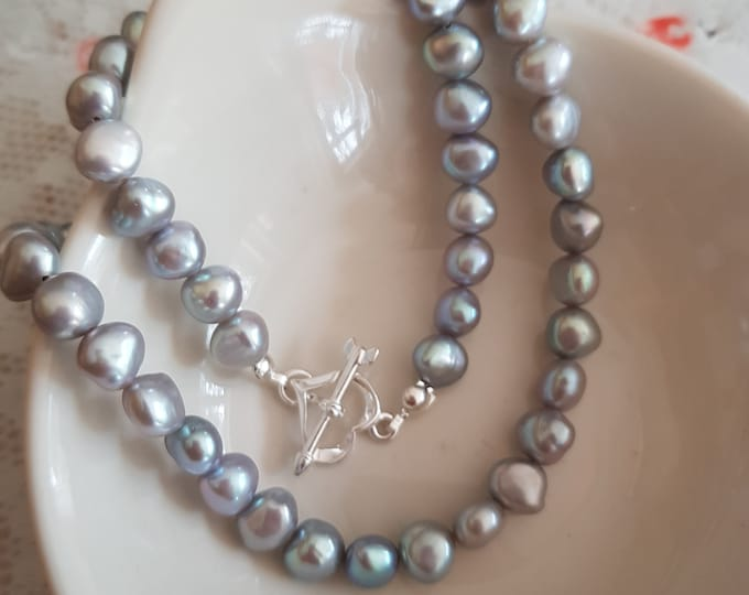 Grey Baroque Freshwater Pearl choker necklace Sterling Silver heart clasp gray pearl necklace large pearl necklace REAL Pearl jewellery gift