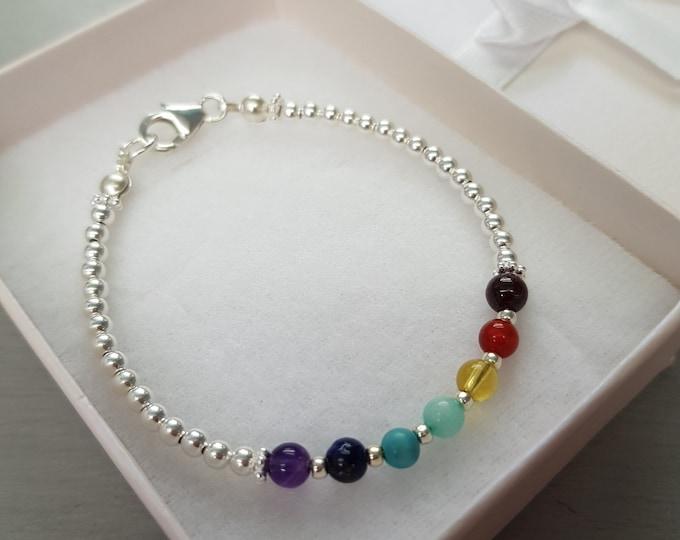 7 CHAKRA Bracelet Sterling Silver tiny 4mm gemstone bead Bracelet  YOGA bracelet Chakra jewelry Boho jewellery gift